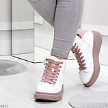 Модные высокие белые женские кроссовки кеды криперы на розовой шнуровке, фото 2