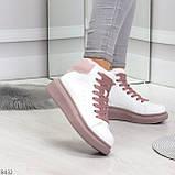 Модные высокие белые женские кроссовки кеды криперы на розовой шнуровке, фото 3