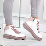 Модные высокие белые женские кроссовки кеды криперы на розовой шнуровке, фото 4
