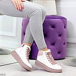 Модные высокие белые женские кроссовки кеды криперы на розовой шнуровке, фото 5