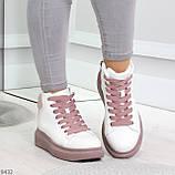 Модные высокие белые женские кроссовки кеды криперы на розовой шнуровке, фото 6