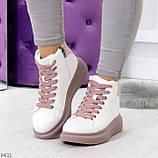 Модные высокие белые женские кроссовки кеды криперы на розовой шнуровке, фото 8