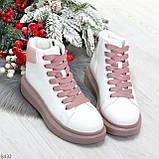 Модные высокие белые женские кроссовки кеды криперы на розовой шнуровке, фото 9