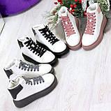 Модные высокие белые женские кроссовки кеды криперы на розовой шнуровке, фото 10