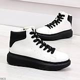 Модные высокие черно - белые женские кроссовки кеды криперы по доступной цене, фото 2