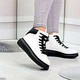 Модные высокие черно - белые женские кроссовки кеды криперы по доступной цене, фото 3