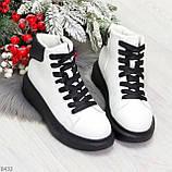 Модные высокие черно - белые женские кроссовки кеды криперы по доступной цене, фото 4