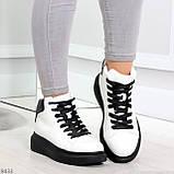 Модные высокие черно - белые женские кроссовки кеды криперы по доступной цене, фото 5