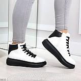 Модные высокие черно - белые женские кроссовки кеды криперы по доступной цене, фото 7