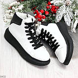 Модные высокие черно - белые женские кроссовки кеды криперы по доступной цене, фото 8