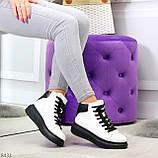 Модные высокие черно - белые женские кроссовки кеды криперы по доступной цене, фото 9