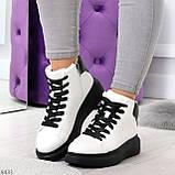 Модные высокие черно - белые женские кроссовки кеды криперы по доступной цене, фото 10