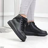 Модные высокие черные женские кроссовки кеды криперы по доступной цене, фото 2