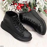 Модные высокие черные женские кроссовки кеды криперы по доступной цене, фото 4