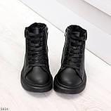 Модные высокие черные женские кроссовки кеды криперы по доступной цене, фото 5