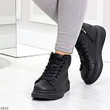 Модные высокие черные женские кроссовки кеды криперы по доступной цене, фото 6