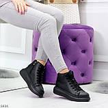 Модные высокие черные женские кроссовки кеды криперы по доступной цене, фото 7