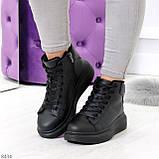 Модные высокие черные женские кроссовки кеды криперы по доступной цене, фото 8