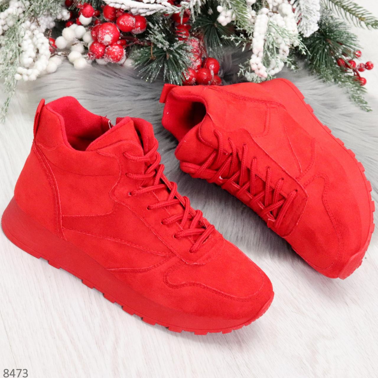 Яркие высокие замшевые красные женские кроссовки на молнии