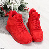 Яркие высокие замшевые красные женские кроссовки на молнии, фото 2
