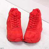 Яркие высокие замшевые красные женские кроссовки на молнии, фото 3