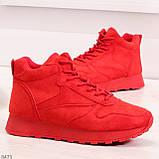 Яркие высокие замшевые красные женские кроссовки на молнии, фото 4