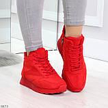 Яркие высокие замшевые красные женские кроссовки на молнии, фото 5