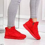 Яркие высокие замшевые красные женские кроссовки на молнии, фото 6