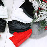 Яркие высокие замшевые красные женские кроссовки на молнии, фото 7