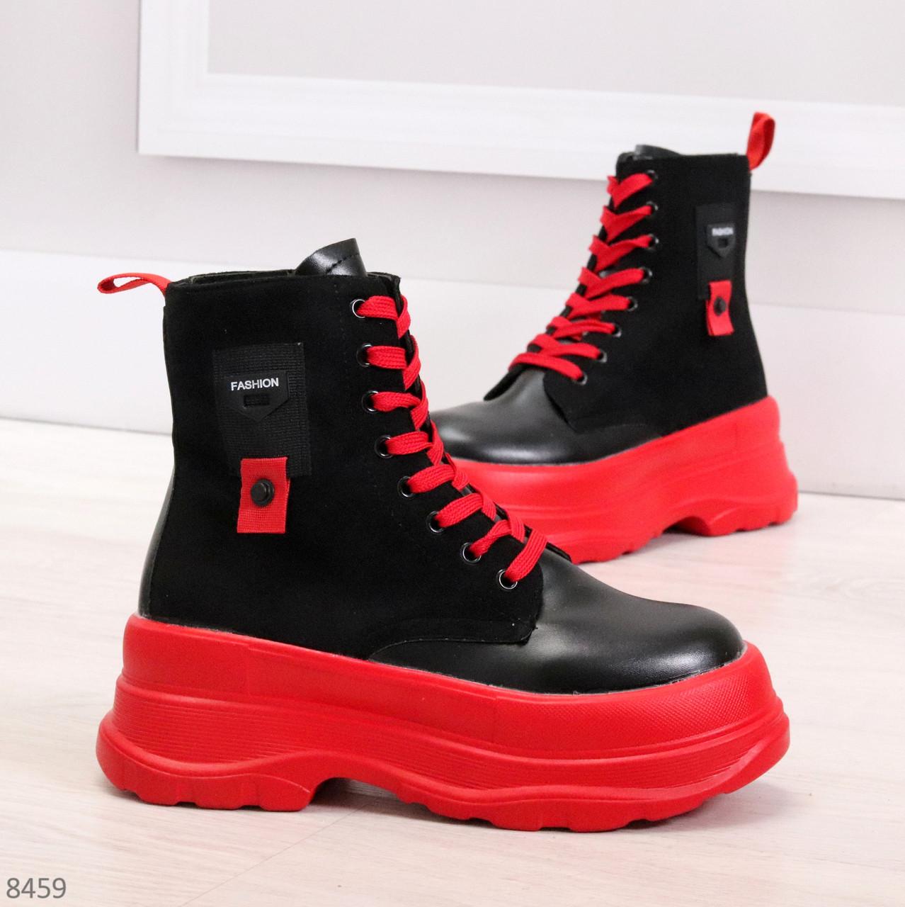 Яркие черные красные демисезонные женские ботинки декор цветная шнуровка