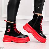 Яркие черные красные демисезонные женские ботинки декор цветная шнуровка, фото 4