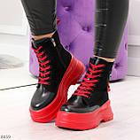 Яркие черные красные демисезонные женские ботинки декор цветная шнуровка, фото 6