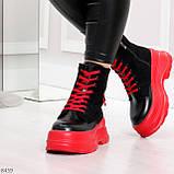 Яркие черные красные демисезонные женские ботинки декор цветная шнуровка, фото 8