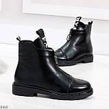 Удобные трендовые черные женские ботинки на флисе низкий ход, фото 2