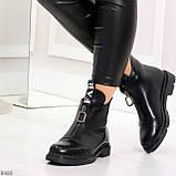 Удобные трендовые черные женские ботинки на флисе низкий ход, фото 3