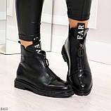 Удобные трендовые черные женские ботинки на флисе низкий ход, фото 5