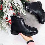 Удобные трендовые черные женские ботинки на флисе низкий ход, фото 7