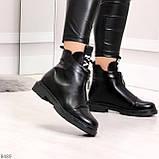 Удобные трендовые черные женские ботинки на флисе низкий ход, фото 8