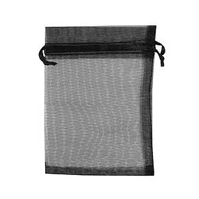 Подарочный мешочек из органзы для украшений 5х7 см Черный, фото 2