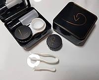 Стильный черный  контейнер -кейс для хранения контактных линз Crystal Love 700