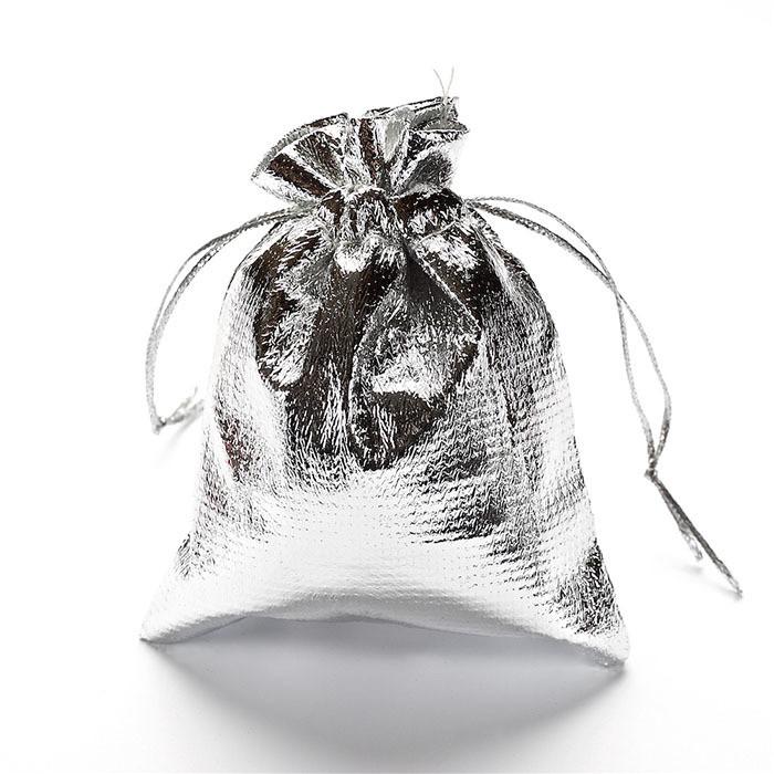Подарочный мешочек из парчи люрекса 7х9 см Серебряный
