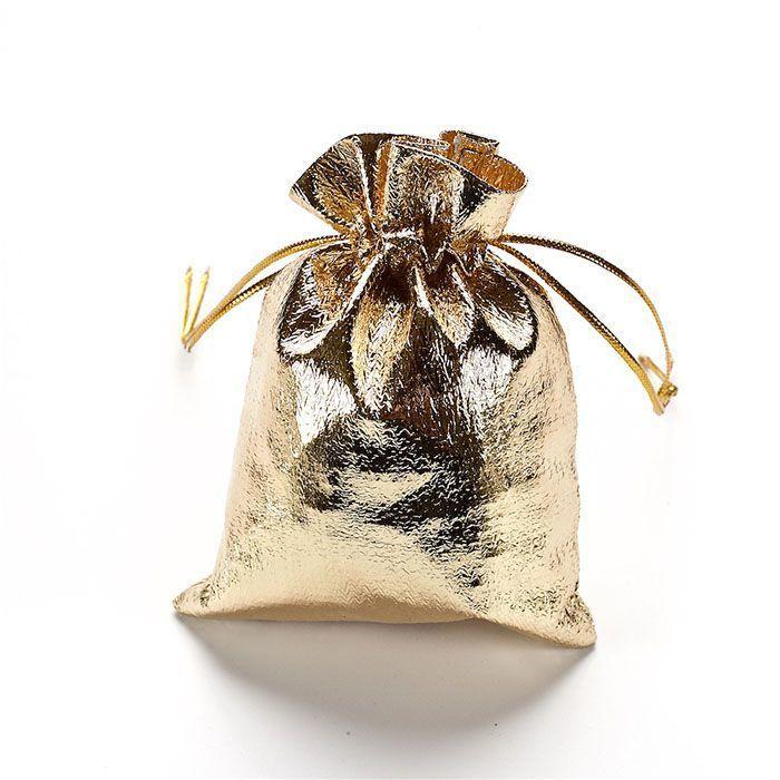 Подарочный мешочек из парчи люрекса 7х9 см Золотой