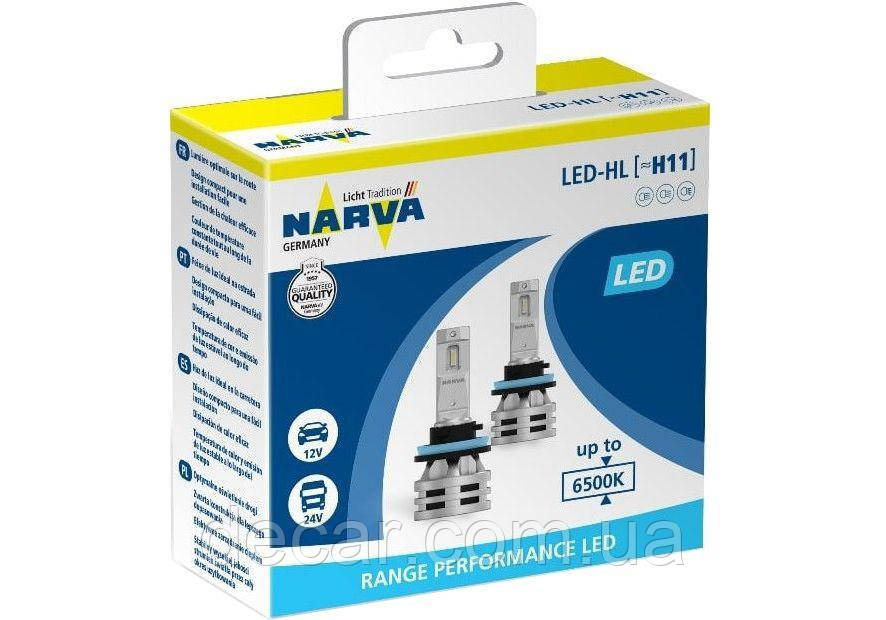 "Лампа LED_H11 радиатор+кулер 8000Lm ""NARVA"" 24W/6500K/IP67/8-48v (2шт) (180483000)"