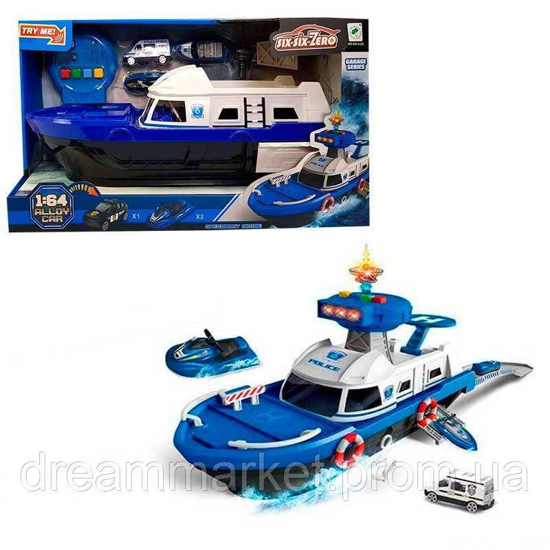 Детский Игровой набор для мальчиков: Полицейский Корабль, скутер и машинка - со световыми и звуковыми