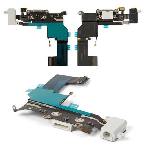 Шлейф для iPhone 5S, конектора навушників, конектора зарядки, білий, з мікрофоном, з компонентами