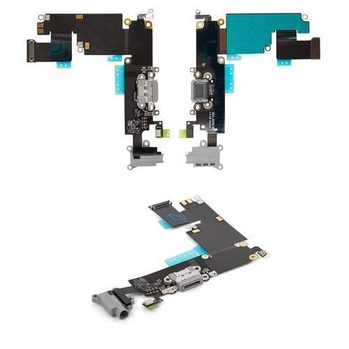Шлейф для iPhone 6 Plus, конектора навушників, конектора зарядки, чорний, з мікрофоном, з компонентами