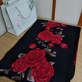 Палантин теплий жіночий кашемір у троянди, з бахромою