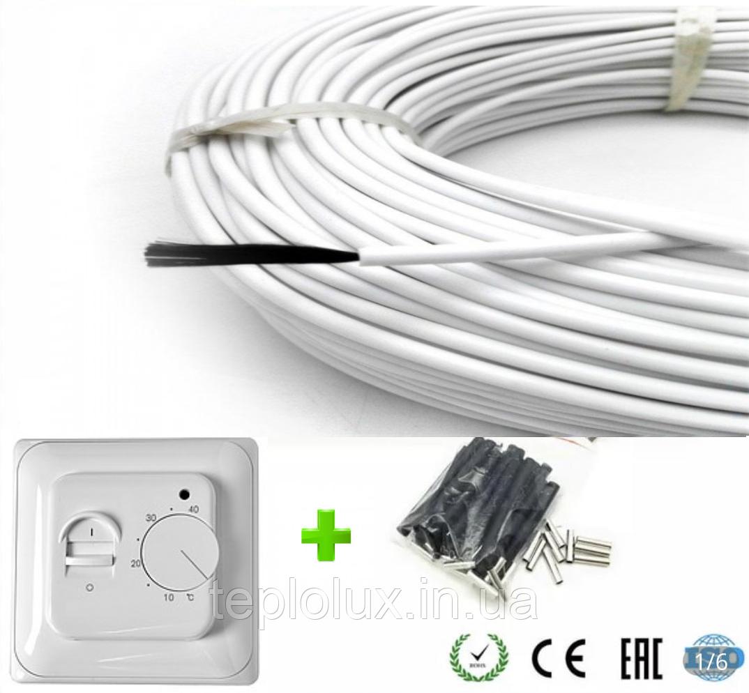 2м2. Комплект для теплого пола из нагревательного карбонового кабеля 33 ом/м 12К (20метров) с терморегулятором