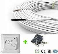 2м2. Комплект для теплого пола из нагревательного карбонового кабеля 33 ом/м 12К (20метров) с терморегулятором, фото 1