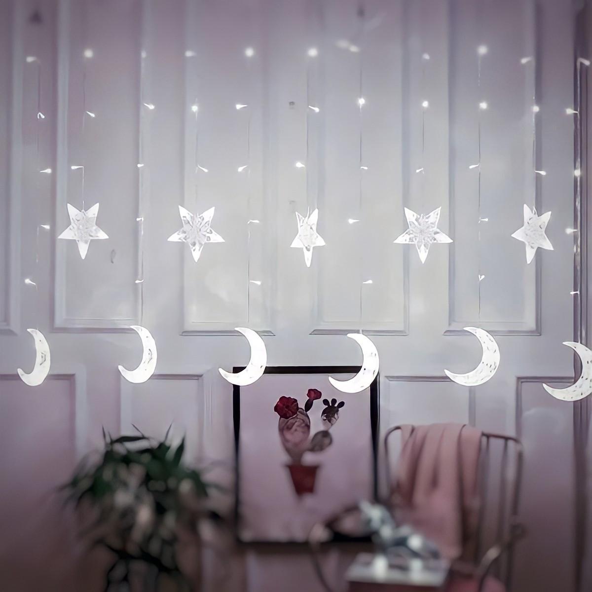 Светодиодная гирлянда штора звезды и месяц с пультом light